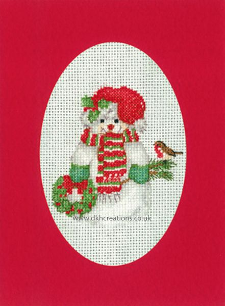 Sue Hill Christmas Snowman Greeting Card Red Cross Stitch Kit